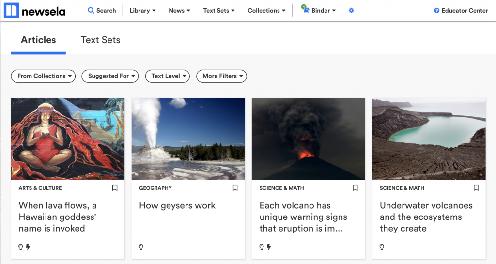 This screenshot of Newsela shows a variety of text selections about volcanoes.