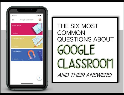 iPhone with Google Classroom sections on screen